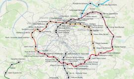 map extract: datavisualisation tool of the Observatory of Grand Paris station neighbourhoods © Apur