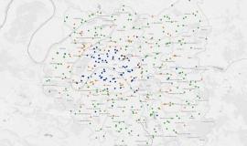 """Extrait de l'application interactive """"Les stations-service de la Métropole du Grand Paris face aux nouvelles énergies"""" © Apur"""