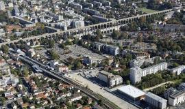 """Le site de la future gare """"Arcueil-Cachan"""" avec le projet de la ligne 15 du Grand Paris Express GPE - © ph.guignard@air-images.net"""
