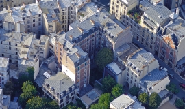Vue aérienne sur des immeubles d'habitation, Paris 9e arr. © ph.guignard@air-images.net