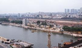 Point de vue sur l'emprise de la Bibliothèque de France (BNF) et sur les quais de Seine rive gauche, 1990 © Apur