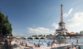 Vue du futur site de baignade du Trocadéro  @ Apur-Luxigon