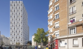 Rue Harpignies, HBM et la tour Saint-Blaise (Les Portes du 20e) © Apur - Arnauld Duboys Fresney