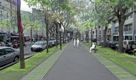 Fosses d'arbres continues engazonnées, bordées de pavés, état proposé – Paris 11e/20e arr. © Photomontage Apur