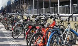 Université Pierre et Marie Curie (5e) - 26/01/2017 - L'établissement compte plusieurs milliers d'étudiants. Plusieurs rangées d'arceaux sont installées à l'entrée principale © Apur