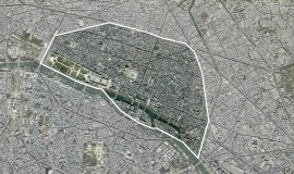 Aerial view of the four first districts of Paris © MNE/MNT/Photo/proche infrarouge Aerodata