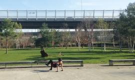 Nanterrienne pratiquant du sport, dans le Parc du Chemin de l'Île © Apur