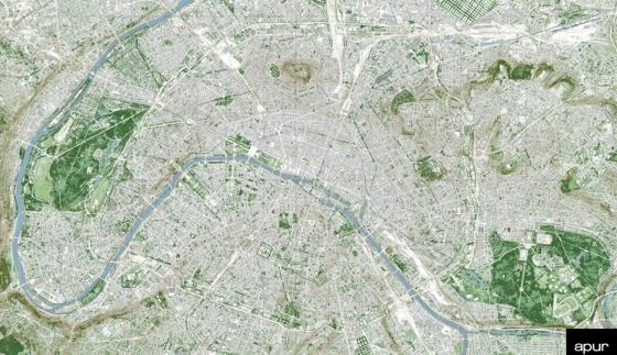 Green Paris © Apur - image proche infrarouge, MNE, MNT - Aérodata 2015