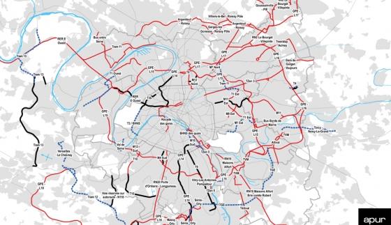 Les lignes de transport en commun réalisées récemment et en projet à l'échelle de la Métropole du Grand Paris © Apur