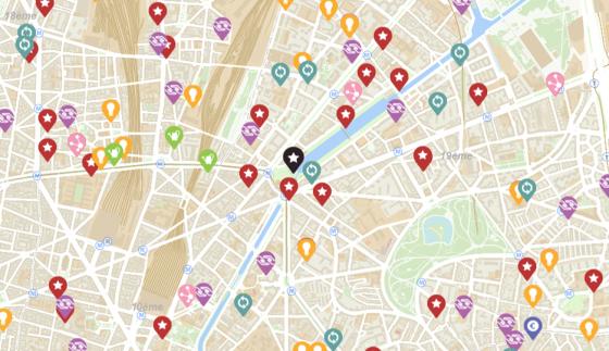 Extrait de la carte interactive : les acteurs des économies solidaires et innovantes © Ville de Paris / Apur 2016
