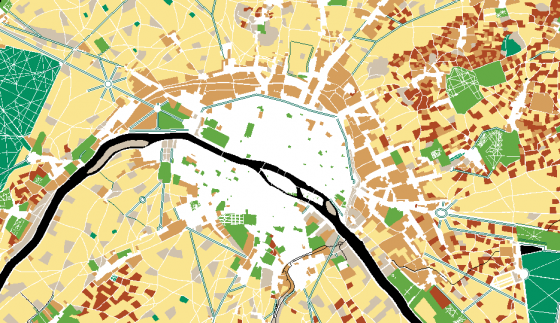 """Extract of the interactive map """"Evolution of nature in Paris over 3 centuries, from 1730 to 2017"""" © Apur"""