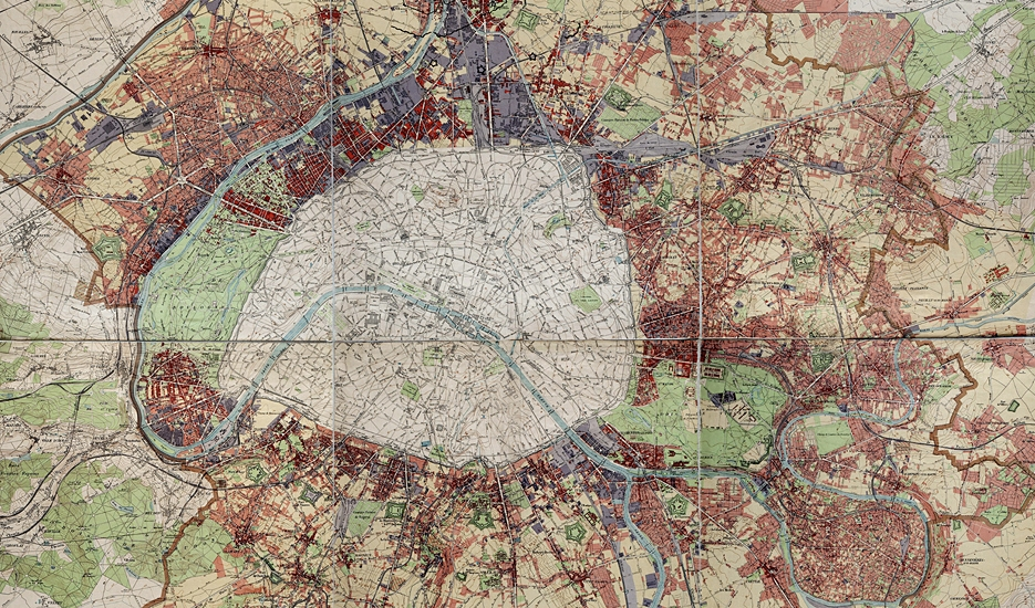 carte du département de la Seine, 1921 © Direction de l'Extension de Paris