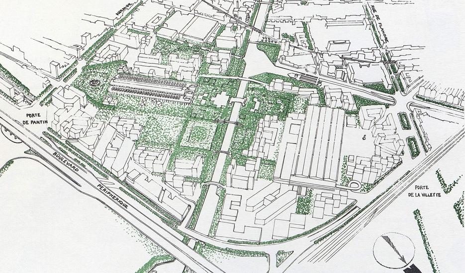 La Villette - Perspectives sur le parc et les canaux - Source : Concours pour l'aménagement du secteur de la Villette © Commissaire à l'aménagement du secteur de la Villette - SEMVI