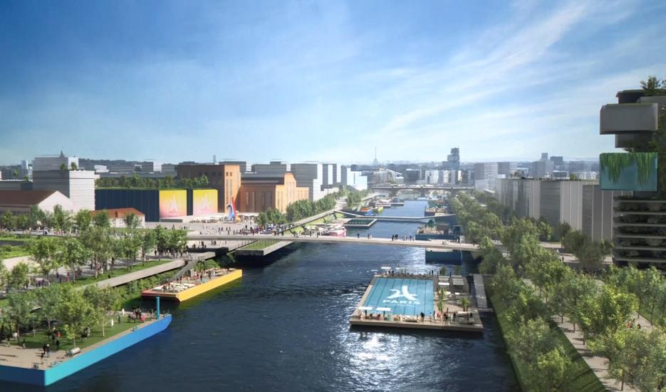 Vue du village olympique depuis la Seine © Paris 2024 – Luxigon – DPA