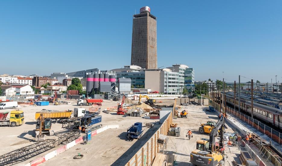 Building site of the future Saint-Denis Pleyel station (93) @ Société du Grand Paris / Gérard Rollando
